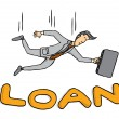 Businessman falling on loan - Imagen vectorial