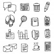 Vector office icon set or Handwritten business cartoon - Stock Vector