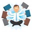 Multitasking zen businessman — Stock Vector