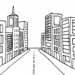Cartoon line city - Imagen vectorial