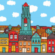 Old cartoon town - Imagen vectorial