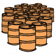 Oil drum. Bunch of barrels — Stock Vector