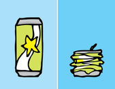 Cartoon can, before and after compacting — 图库矢量图片