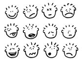 Vector cartoon faces and emotions — Stock Vector