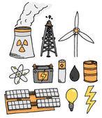 Conjunto de iconos de vector de energía. generación de energía alternativa — Vector de stock