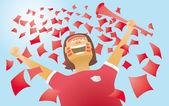 Fan piłki nożnej. puchar świata w piłce nożnej i cel — Wektor stockowy
