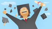 Happy graduate and caps up in the air — Stock Vector