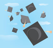 Graduation caps tossed up — Stock Vector