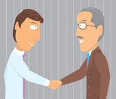 Handshake young and old businessman — Stock Vector