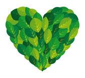 Leaf plant ecology heart — Stock Vector