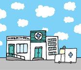 Hôpital et ambulance — Vecteur
