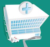 Hospital entrance and ambulance — Stock Vector