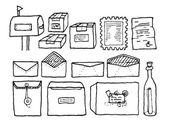 Yazışma posta nesneleri kümesi — Stok Vektör