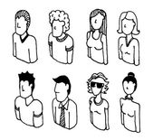 Vector icon set or Lineart avatars — Stock Vector