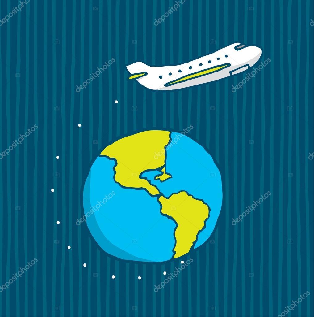 世界各地的飞行的飞机