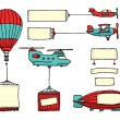 Stock Vector: Cartoon set of air vehicles with banners