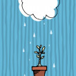 Plant growing in the rain. Growth - Stock Vector
