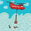 Rescue helicopter at the sea — Stock Vector