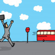 Businessman chasing a bus — Stock Vector #23886139