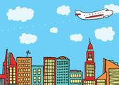 Flugzeug fliegen über der stadt — Stockvektor