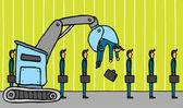 Crane removing businessman. Layoff — Stock Vector