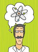 Szczęśliwy naukowiec myśli — Wektor stockowy