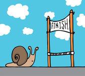 Snail reaching his goal — Stock Vector