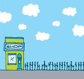 Successful shop with long queue — Stock Vector
