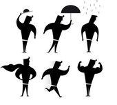 Gentleman character set. Hero Silhouette actions — Stock Vector