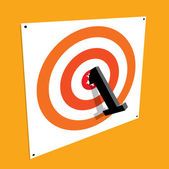 Number one bullseye on a target. First place — Stock Vector