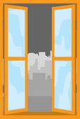 Openen windows naar de stad — Stockvector