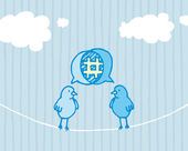 Birds sharing and tweeting — Vector de stock
