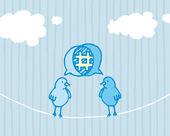 Paylaşım ve tweeting kuşlar — Stok Vektör