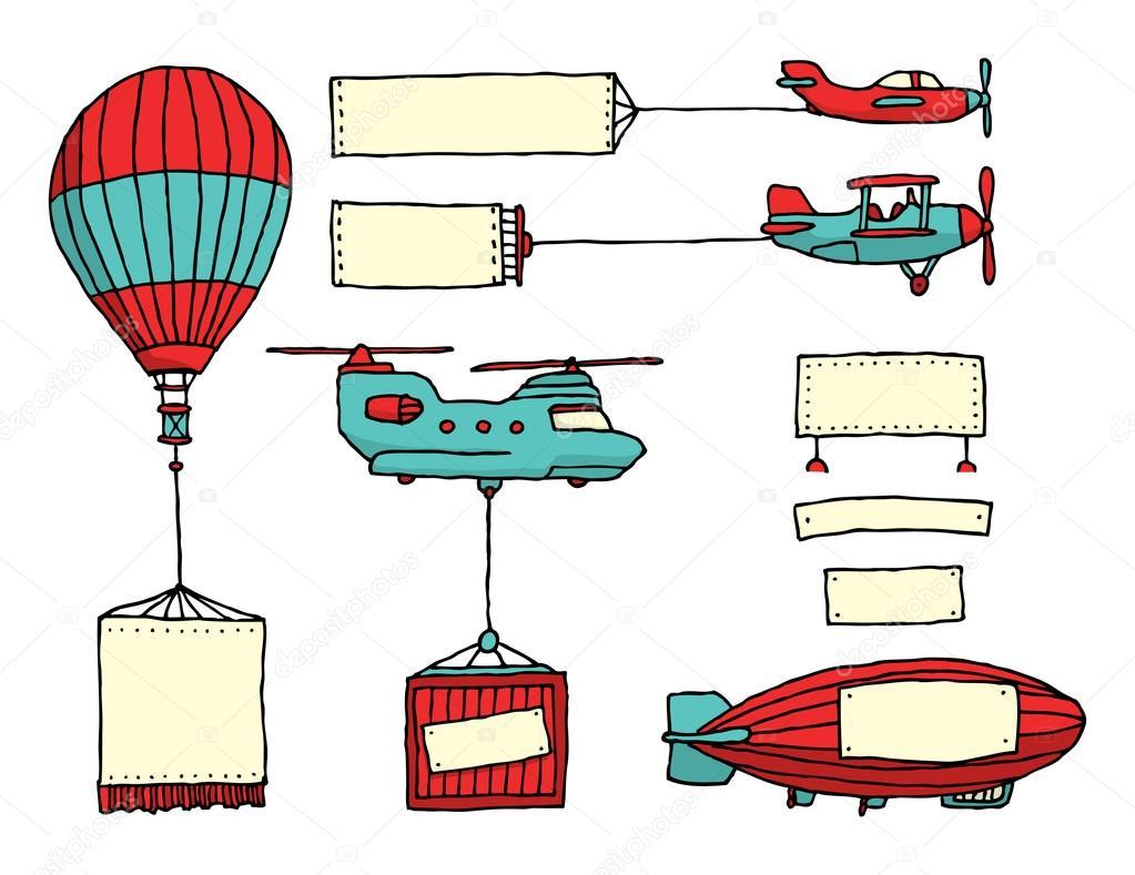 Cartone animato serie di veicoli aerei con striscioni