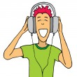 Guy listening music on huge headphones — Stock Vector #27622853