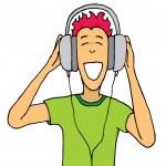 Guy listening music on huge headphones — Stock Vector #27622853