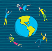 Cartoon orbiting around the earth — Stock Vector