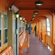Orange deck on a ferry — Stock Photo