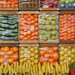 Different colorful fruits organized in crates — Foto de Stock
