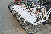 Group of bicycles parked together — Stock Photo