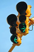 Go both ways on the traffic light — Stock Photo