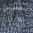 Letters texture on blackboard — Stock Photo