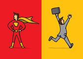 Superhero versus coward — Stock Vector