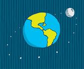 Moon orbiting the earth — Stock Vector