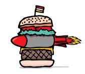 Huge missile burger — Stock Vector