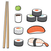 Cartoon sushi set — Stock Vector