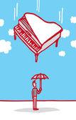 Really bad luck umbrella guy — Stock Vector