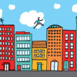 Guy practising parkour in city — Stock Vector #40389429