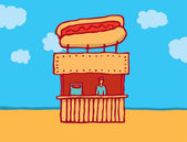 Hot dog parlor at the beach — Stock Vector