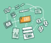 Data search algorithm gathering digital information — Stock Vector
